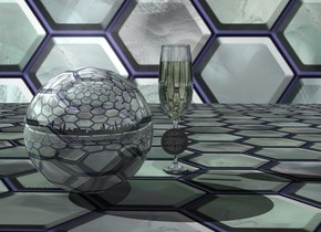 A shiny tile sphere is on a tile mat. Tile backdrop. Sky is 4000 feet wide tile. Camera light is black. The background is Chicago. It is dark. A large glass is right of and behind the sphere. A tiny 10% shiny grey clock is in front of the glass. It is 4 inch above the ground. A dim light is in front of the clock. A dim green light is left of the glass.