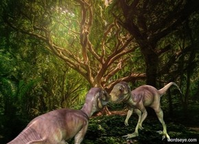 tree backdrop.a 1st dinosaur.a 2nd dinosaur is in front of the 1st dinosaur.it is facing the 1st dinosaur.a malachite green light is 1 feet right of the 1st dinosaur.a dark green light is 1 feet right of the 2nd dinosaur.a 25% yellow light is above the 1st dinosaur.