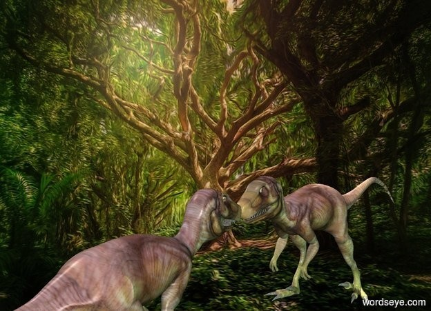 Input text: tree backdrop.a 1st dinosaur.a 2nd dinosaur is in front of the 1st dinosaur.it is facing the 1st dinosaur.a malachite green light is 1 feet right of the 1st dinosaur.a dark green light is 1 feet right of the 2nd dinosaur.a 25% yellow light is above the 1st dinosaur.