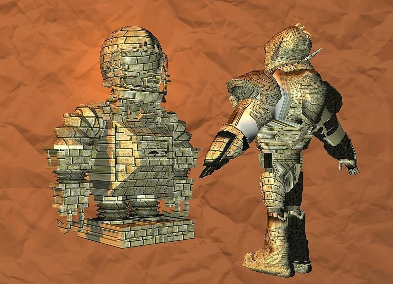 Input text: a 1st brick robot.a 80% dim old gold [paper] backdrop.sun is old gold.a 2nd brick robot is 50 inch in front of the 1st robot.the 2nd robot is facing the 1st robot.a 30 inch tall brick helmet is -5 inch above the 1st robot.