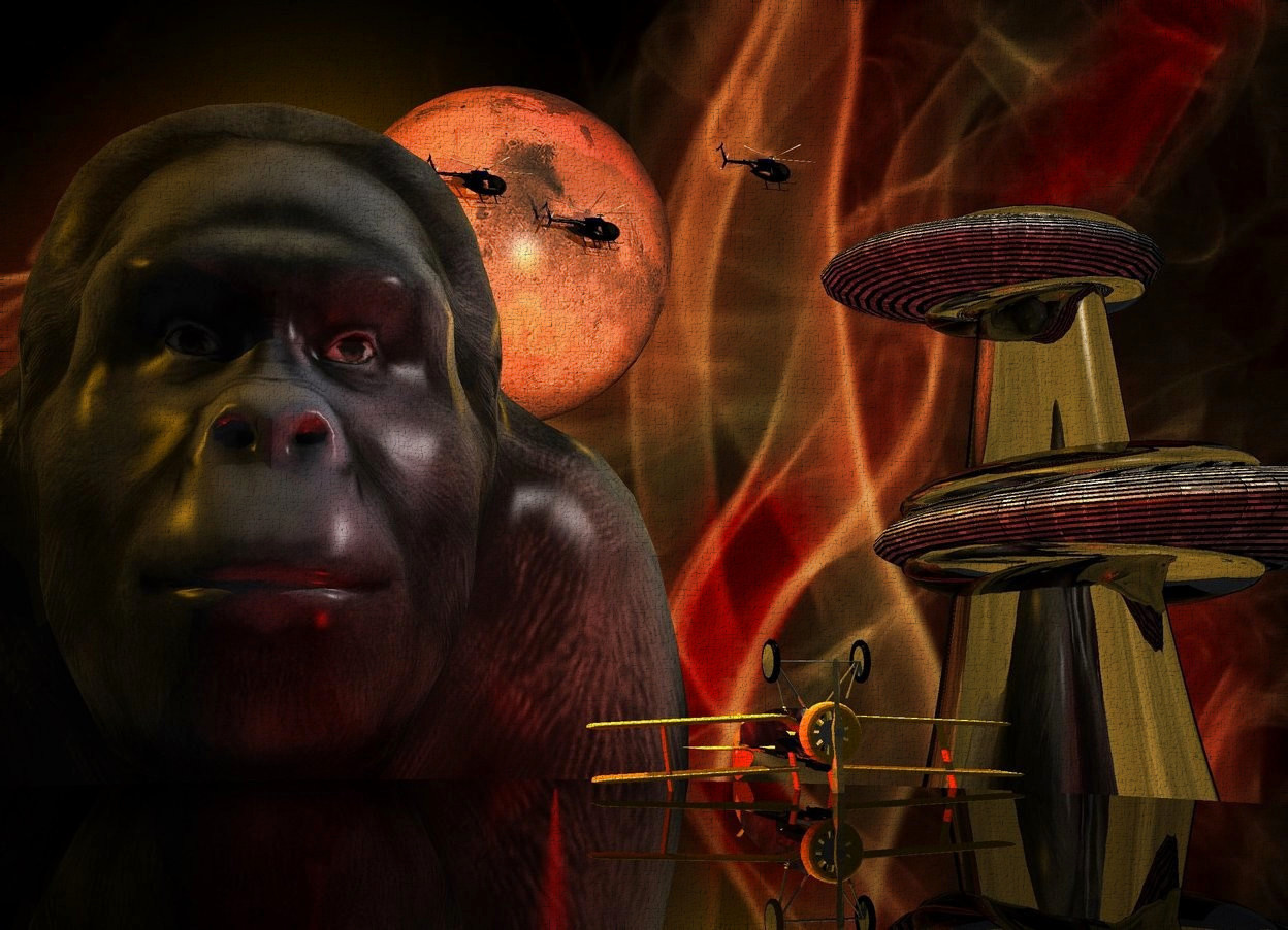 Input text: Red fire backdrop. Sun is orange. A humongous gorilla is behind and -65 feet above a humongous shiny black puddle. A humongous planet is above and behind and -25 feet right of the gorilla. Camera light is black. A light is right of and above and in front of the gorilla. An orange light is above and right of the gorilla. A small black helicopter is -25 feet above and in front of and -20 feet right of the planet. It is facing east. A small black helicopter is 1 feet left of and above the helicopter. It is facing east. A small black helicopter is 20 feet right of and above the helicopter. It is facing east. A small silver plane is in front of and -35 feet above and -23 feet right of the gorilla. It is upside down. A red light is left of and -5 feet above the plane. A shiny black building is behind and right of and -10 feet above the puddle.