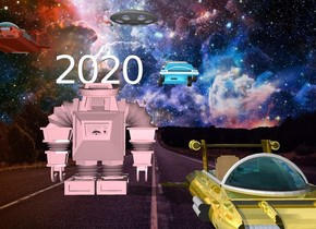 "The ""2020"" is  in the pink robot. The very small car is above and to the right of the robot. A small vehicle is 2 feet above and to the left of the robot. A 2nd very tiny vehicle is 2 feet Above and to the left of the car.a third shiny gold vehicle is to the right and in front of the robot."