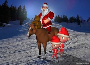 a 60 inch tall horse.a 50 inch tall santa claus is -20 inch above the horse.a 20 inch tall orange teddy bear is in front of the santa claus.the teddy bear is -40 inch above the santa claus.a 1st 40 inch tall elf is right of the horse.a 2nd 50 inch tall elf is behind the 1st elf.