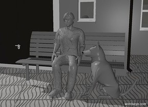a 150 inch tall gray [dirt] man is above a 100 inch tall gray park bench.a 100 inch tall gray dog is right of the man.the dog is facing the man.camera light is gray.a 700 inch tall gray house is behind the park bench.the man is -110 inch above the park bench.the man is -40 inch in front of the park bench.
