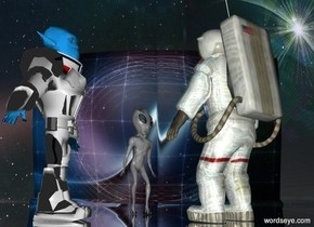 a clear white appliance.it is 100 feet deep and 40 feet wide and 30 feet tall.a shiny man is -30 feet in front of the appliance.he is facing northeast.sky is fantasy.space backdrop.a robot is 2 feet behind the man.a alien is in front of the robot.the alien is right of the robot.the alien is facing the man.the alien's eye is silver.