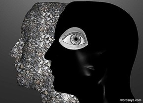 a 1st 130 inch tall [stone] head.sky is black.ground is invisible.a 2nd 100 inch tall   black  head is -70 inch behind the 1st head.the 2nd head is -20 inch right of the 1st head.camera light is gray.a 14 inch tall gray eye is -50 inch above the 2nd head.the eye is -5 inch right of the 2nd head.the eye is facing east.the eye is -24 inch in front of the 2nd head.