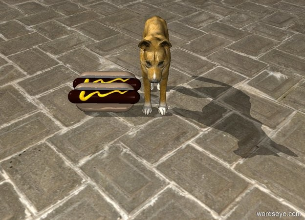 Input text: 2 hotdogs next to small orange dog