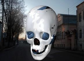 Halloween skull in Russia