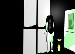 window backdrop.a ghost.a vase is 6 inches left of the ghost.a lime light is 1 feet behind the ghost.a door is 18 inches left of the vase.it is facing the vase.