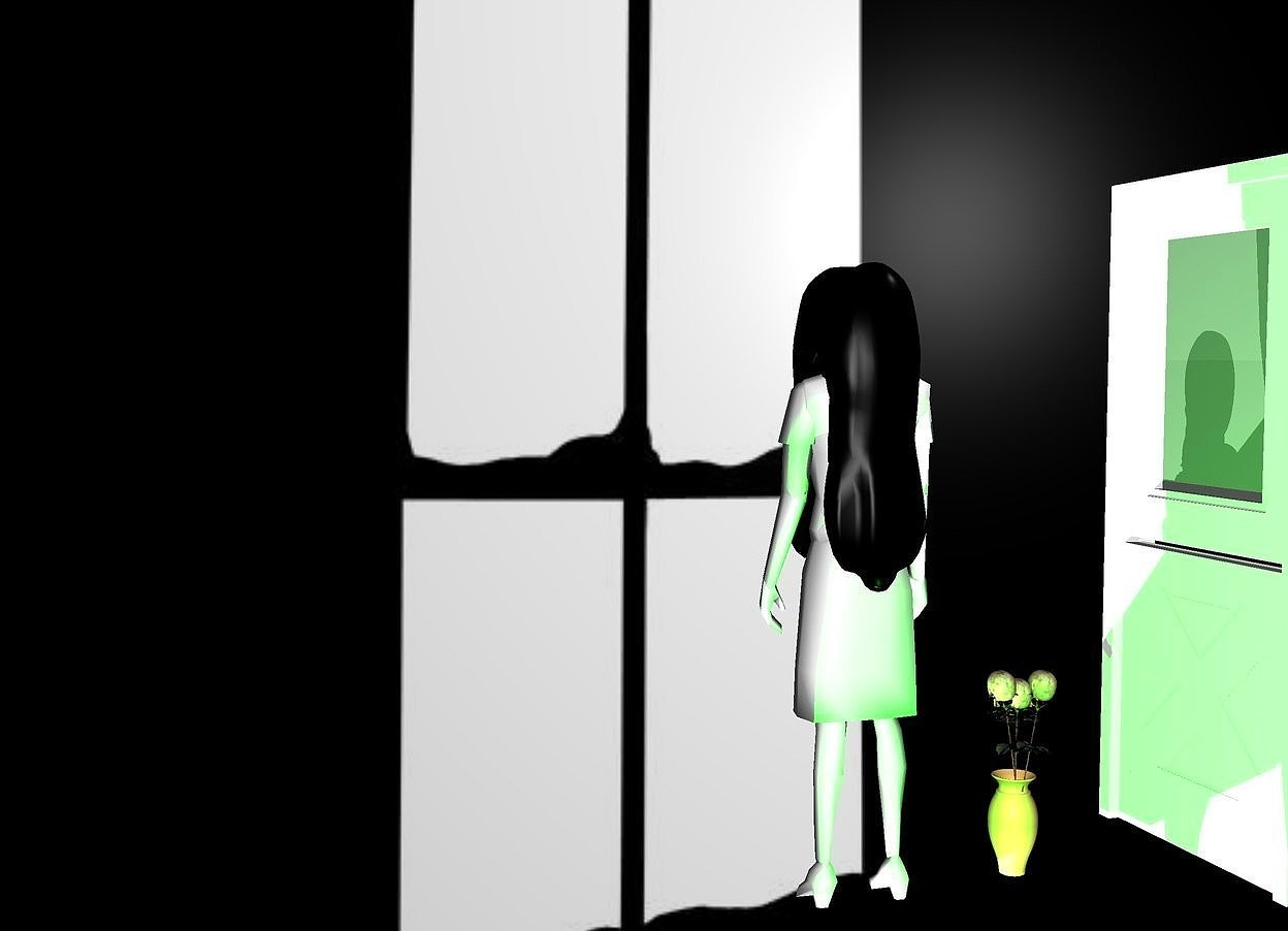Input text: window backdrop.a ghost.a vase is 6 inches left of the ghost.a lime light is 1 feet behind the ghost.a door is 18 inches left of the vase.it is facing the vase.
