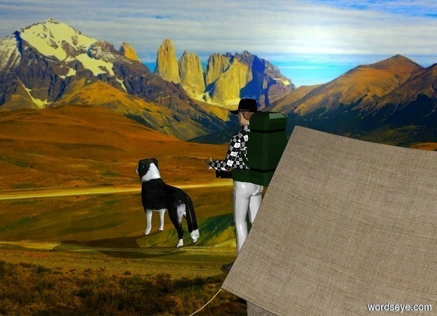 Input text: a man.mountain backdrop.shadow plane.a tent is 6 inches behind the man.a dog is 1 feet in front of the man.