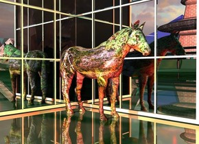 a [image-12336]horse.a 1st large mirror is 1 feet right of the horse.it is facing the horse.a 2nd large mirror is 1 feet behind the horse.shiny ground.pink sun.a rust light is 2 feet left of the horse.a red light is 1 feet in front of the horse.