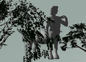 a 4 foot tall white statue. sky is oyster gray. ground is invisible. a flat 2.4 foot tall and 20 foot wide silver cube is -.5 foot in front of  the statue. a 3 foot wide white horse is 9 feet in front of the statue.  it faces the northeast. camera light is black. a marble is 10 feet in front of and 2 foot right of the statue. the statue faces the marble. a 4.55 foot tall flat willow is in front of and -10.2 feet left of the cube. a 3 foot tall flat tree is in front of and -10 feet right of the cube.