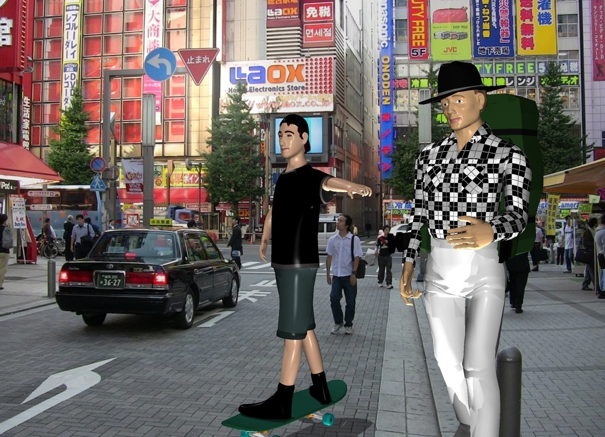 Input text: the tokyo backdrop.  the skateboarder is next to the hiker.