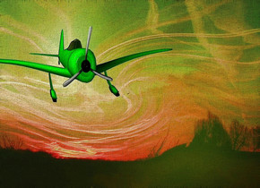a shiny [ct] backdrop.sun is  green yellow. a 100 inch tall 60% dim  lime aircraft.