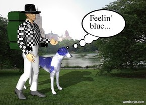 The man and the dog are in Central Park. The dog is blue.