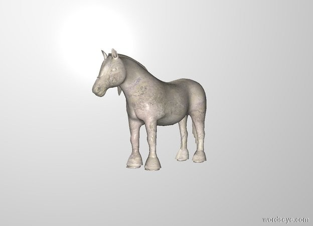 Input text: THE WHITE BACKDROP. There is a stone horse.