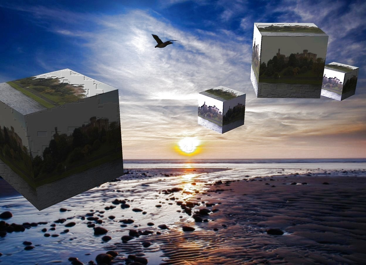 Input text: Sky backdrop. An image-12421 cube is in the sky. A cream light is 2 feet left of and -6 feet above and in front of the cube. An image-12421 cube is 3 feet behind the cube. It is facing southeast. An image-12421 cube is -4 feet above and 3 feet left of and 2 feet behind the cube. An image-12421 cube is right of and 4 feet behind the cube. Camera light is black. A dark bird is 8 feet left of the cube. A navy light is 8 feet in front of the cube.
