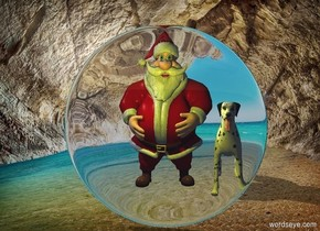 the man and the dog. the glass sphere is two feet in front of them. it is 2 inches deep and 5 feet tall and 5 feet wide. the yellow light is one foot in front of the man. it is 3 feet above the ground. the camera light is black.