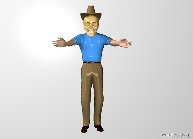 Input text: the 14 inch tall skull is -12 inches above the man. it is -28 inches in front of the man. the hat is -5 inches above the skull. the white backdrop.