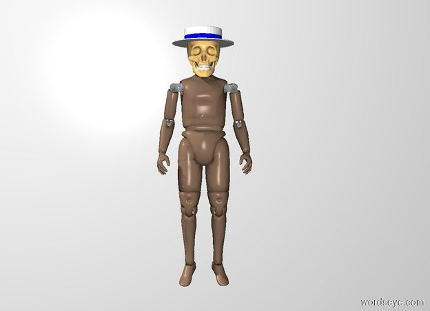 Input text: the 14 inch tall skull is -12 inches above the man. the hat is -4 inches above the skull. it is 18 inches wide. the white backdrop.