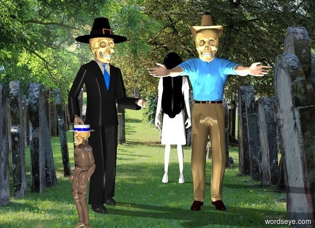 Input text: william is in the cemetery. he is facing southeast. dave is right of william. the ghost is 3 feet behind dave and -8 inches right of william. death is in front of william. death is 3 feet tall. death is facing  southwest.