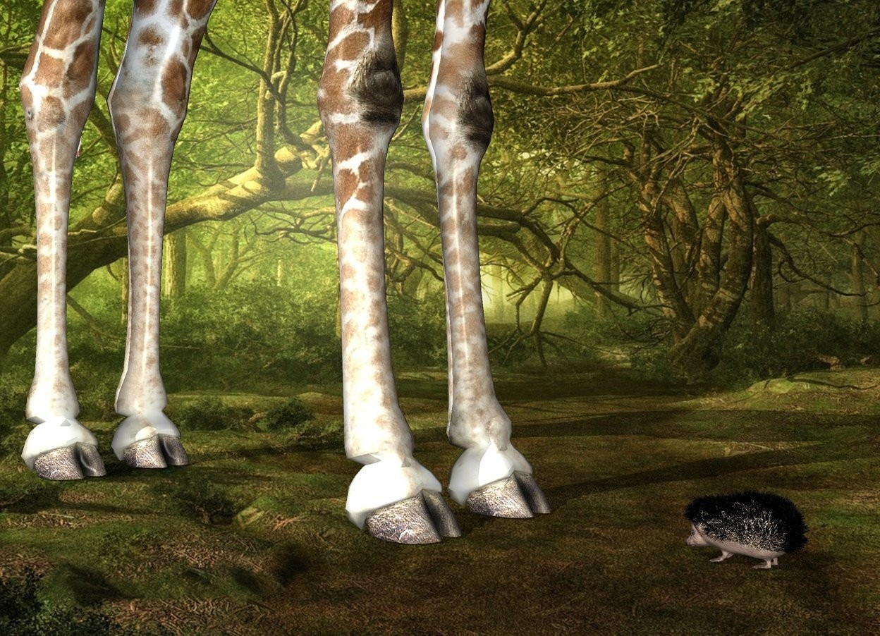 Input text: Fantasy backdrop. The giraffe is -5 feet behind the hedgehog. The hedgehog is facing the giraffe.