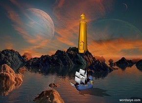 a  fantasy backdrop. a 170 inch tall  lighthouse.the body of the lighthouse is orange.a 100 inch tall delft blue ship is -340 inch above the lighthouse.the sail of the ship is 80% dim gainsboro.the ship is facing southwest.