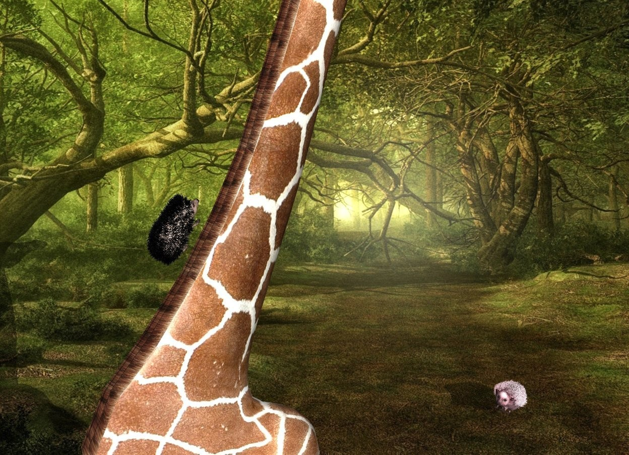 Input text: Fantasy backdrop. The giraffe is -11.5 feet behind the hedgehog. it is leaning 20 degrees to the back. the hedgehog is 13.5 feet above the bottom of the giraffe.  it is leaning 50 degrees to the back. The shadow plane. the second large pink hedgehog is 2 foot in front of the giraffe. it is facing back. it is leaning 45 degrees to the back.