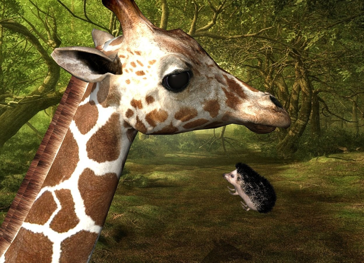 Input text: Fantasy backdrop. The giraffe is -6 feet behind the hedgehog. it is leaning 20 degrees to the back. the hedgehog is 15 feet above the bottom of the giraffe. It is facing back.  it is leaning 50 degrees to the back. The shadow plane. the second large pink hedgehog is 2 foot in front of the giraffe. it is facing back. it is leaning 45 degrees to the back.