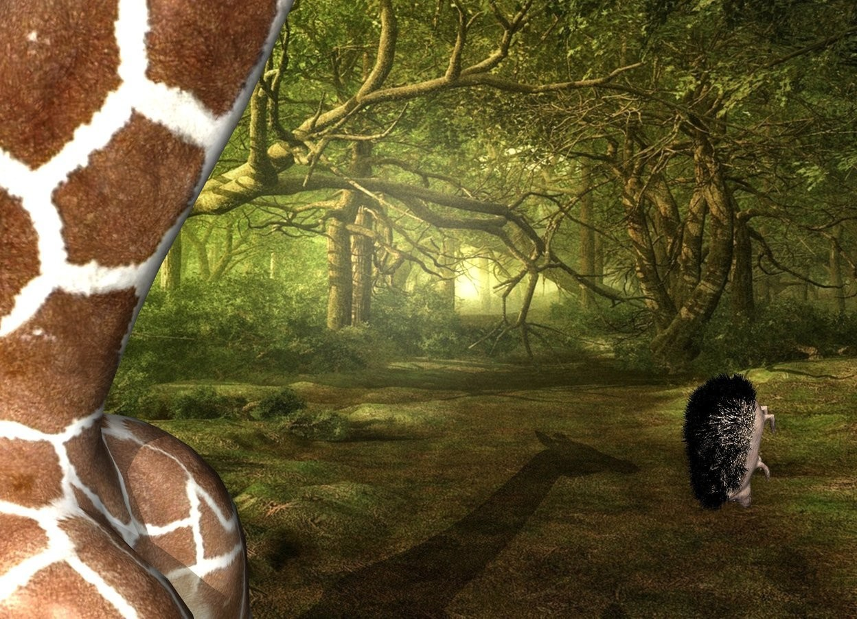 Input text: Fantasy backdrop. The giraffe is -6 feet behind the hedgehog. it is leaning 20 degrees to the back. the hedgehog is 10 feet above the bottom of the giraffe. It is facing back.  It is face down. The shadow plane. the second large pink hedgehog is 2 foot in front of the giraffe. it is facing back. it is leaning 45 degrees to the back.