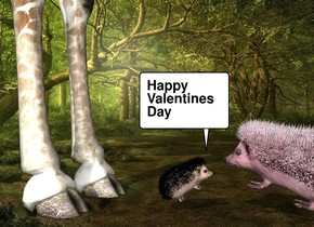 Fantasy backdrop. The giraffe is -6 feet behind the hedgehog. The hedgehog is leaning 35 degrees to the back. The shadow plane. the second large pink hedgehog is in front of the hedgehog. it is facing back. it is leaning 20 degrees to the back.