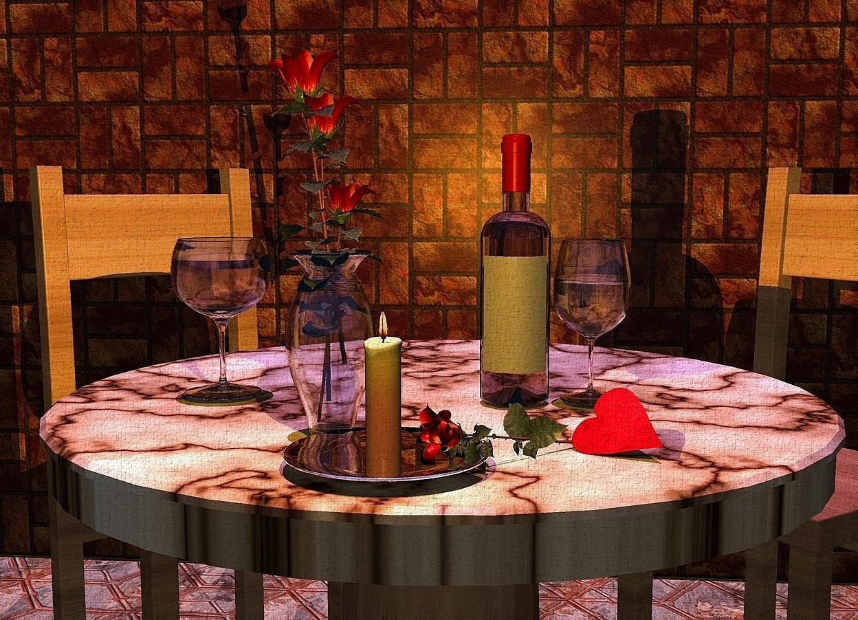 Input text: a wood table. the tabletop of the table is marble. a clear .6 feet tall vase is -.9 feet in front of and on the table. a bottle is .3 feet behind and .3 feet right of the vase. it is on the table. 1st wine glass is right of the bottle. 2nd wine glass is .8 feet left of the bottle. 1st rose is -.5 feet above the vase. 2nd rose is -.4 feet above and -.4 feet in back of the vase. it leans 7 degrees to the right. 3rd .8 feet tall rose is -.6 feet above and -.4 feet right of the vase. it leans 8 degrees to the left. a .6 feet wide silver plate is -.1 feet in front of and -.23 feet right of the vase.a candle is -.1 feet above the plate. 4th .7 feet tall rose is -.8 feet right of and .3 feet in front of and -.78 feet above the 1st wine glass. it faces southwest.it leans 78 degrees to the front. 1st wood chair is -1 feet behind and -1 feet left of the table. it faces the table. 2nd wood chair is -1 feet behind and -.7 feet right of the table. it faces the table. a 15 feet tall and 40 feet long [brick] wall is 2 feet behind the table. the camera light is dim. a orange light is -.1 feet above and -.07 feet in front of the candle. the sun is violet.the sun's azimuth is 180 degrees. the sun's altitude is 88 degrees. the ground is [tile]. a .3 feet tall flat crimson pink heart is -.28 feet right of and .42 feet in front of the 1st wineglass. it leans 80 degrees to the northeast. it is -.05 feet above the table.