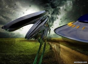 a fantasy backdrop. a 1st clear green alien is 10 feet tall and 4 feet wide and 50 feet deep. a very big ufo is behind and right of and -25 feet above the alien. its hull is shiny black. a 2nd clear green alien is 10 feet tall and 4 feet wide and 50 feet deep. it is behind and left of the 1st alien.
