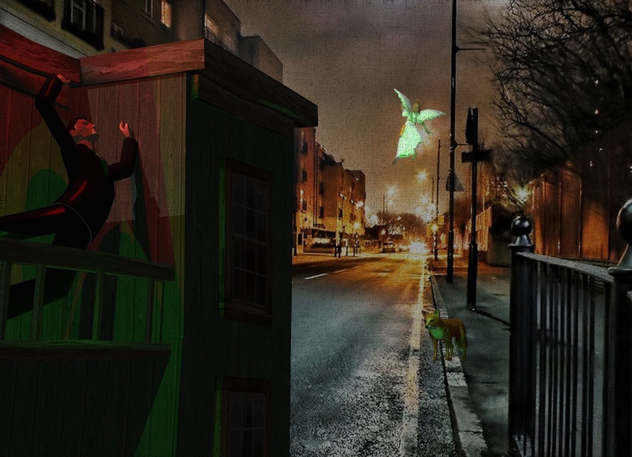 Input text: A man is -8.3 feet above and -4 feet in front of a 50% dark building. Camera light is black. A red light is above the man. A green light is in front of the man. [Night] backdrop. A large fox is 15 feet right of and in front of the man. It is facing the man. The sun is grey. A small shiny angel is 5 feet above and left of the fox. She is facing northeast. She is leaning right.
