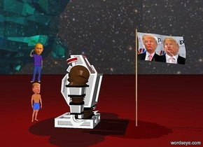 A big Donald Trump flag is standing beside a canyon. A 10 feet tall robot is 5 feet next to the flag. A huge Donald Trump is 3 feet from the robot. The robot is facing Donald Trump.   A big red light is 2 feet above the robot. The ground is brown. The sky is galaxy.  6 feet tall Putin is on Donald Trump