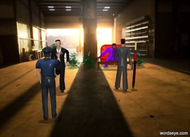 Input text: A room backdrop. A business man is 10 feet in front of a criminal. The business man faces the criminal. A 6 feet tall sword is 10 feet in front of the criminal. The sword faces to the left. A first man is 5 feet next to business man. First bush is to the right of criminal. Second bush is to the left of criminal. Third golf green bush is to the left of the second bush. Fourth golf green bush is to the left of the third bush. Second man is 4 feet in front of first man. Second man is facing the first man. It is noon.