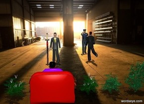 A room backdrop. A business man is 10 feet in front of a criminal. The business man faces the criminal. A 6 feet tall sword is 10 feet in front of the criminal. The sword faces to the left. A first man is 5 feet next to business man. First bush is to the right of criminal. Second bush is to the left of criminal. Third golf green bush is to the left of the second bush. Fourth golf green bush is to the left of the third bush. Second man is 4 feet in front of first man. Second man is facing the first man. It is noon.