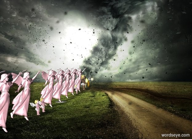 Input text: ten pink angels and one big angel in a circle. five stars. tornado backdrop