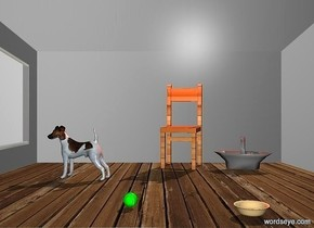 The image backdrop.a dog.a chair is 1 feet behind the dog.it is facing right.the chair is 2 feet left of the dog.a rust light is above the chair.the chair is wood.a ball is 5 feet right of the chair.a bowl is 2 feet behind the ball.a grey basket is 6 inches behind the chair