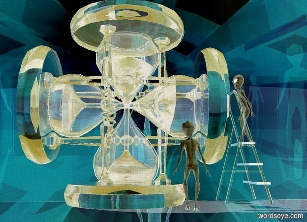 Input text: a 10 foot tall clear hourglass. a 10 foot tall clear hourglass is -8 feet above the hourglass. it leans 90 degrees to the left. a 6 foot tall clear ladder is  right of the hourglass. the ladder is on the ground. it faces the right. a 1st shiny alien is -3 feet above and -1.5 foot right of the ladder. the alien faces left. a 2nd shiny alien is 2 feet in front of and 2 feet left of and -1 foot beneath the 1st alien. the 2nd alien faces back. a shiny alien backdrop. sky. shadow plane.