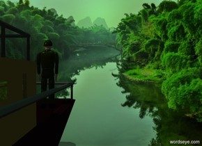a  marble. a boat is 10 feet behind the marble. it faces back. its hull is dark brown. its cabin is bronze green.  a man is -5 feet in front of and -7 feet above and -3 feet left of the boat. a forest backdrop. sun is sea green. camera light is black.  a tan light is  above and behind and right of the man. it is noon.