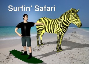 the beach backdrop. The 60% yellow zebra is two feet to the right of the surfer.