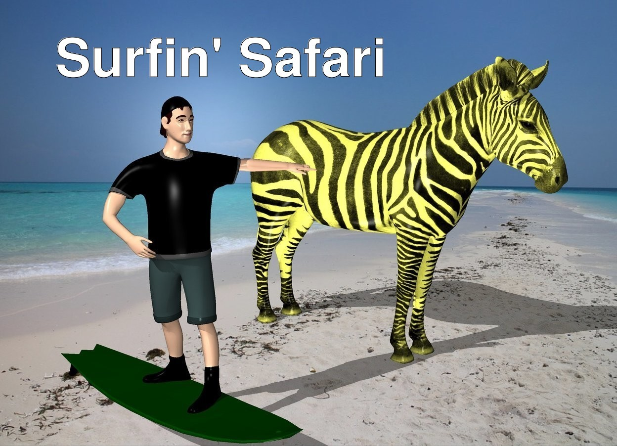 Input text: the beach backdrop. The 60% yellow zebra is two feet to the right of the surfer.