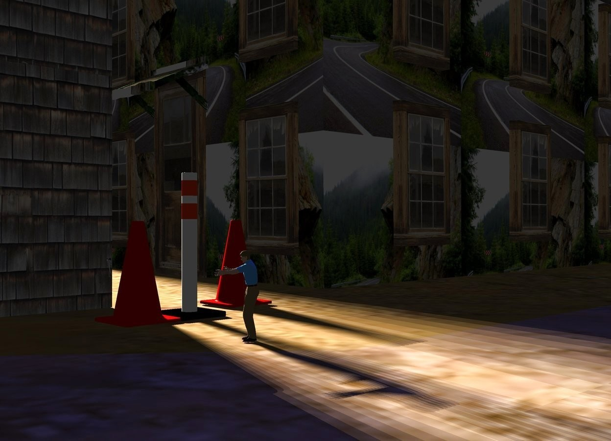 Input text: A highway cone is in front of a highway construction marker. It is -0.1 inch above the ground. A highway house is behind a house. It is -8 inch above the ground. Camera light is black. 8 cream lights are 40 feet left of and above the house. A tiny man is 2 foot right of the highway cone. He is facing southwest. A highway cone is 2 feet behind and 3 feet left of the man. The sun is black. A navy light is 10 feet above the house.