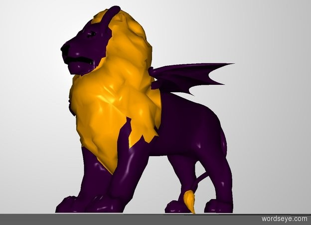 Input text: There is a giant purple lion. the mane of the lion is orange. a purple dragon is 3 feet in the lion. a marble is 1 centimeter in front of the dragon. A 1st very large purple banana is 5 feet above and 1 inch behind and 1 foot to the right of the marble. the 1st banana leans 120 degrees to the back. A 2nd very large purple banana is 5 feet above and 1 inch behind and 1 foot to the left of the marble. the 2nd banana leans 120 degrees to the back. the white backdrop.