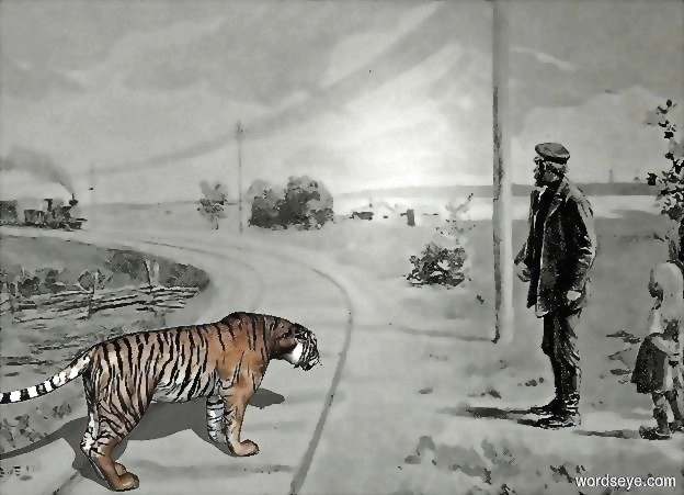 Input text: the tiger. the train tracks backdrop.