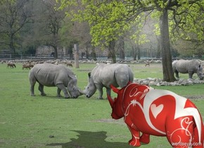 The zoo backdrop. A [love] rhinoceros.