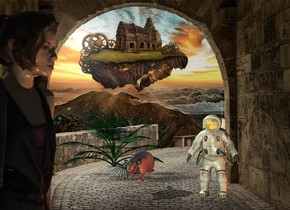 fantasy backdrop.a man.a woman is 20 feet in front of the man.the woman is facing right.a giant armadillo is 5 feet left of the man.it is 2 feet behind the man.the man's visor is shiny.the camera light is black.a cream light is 1 feet right of the woman.a blue light is above the armadillo.a rust light is right of the man.a dwarf palm is 1 feet behind the armadillo.it is left of the armadillo.a lime light is above the dwarf palm.
