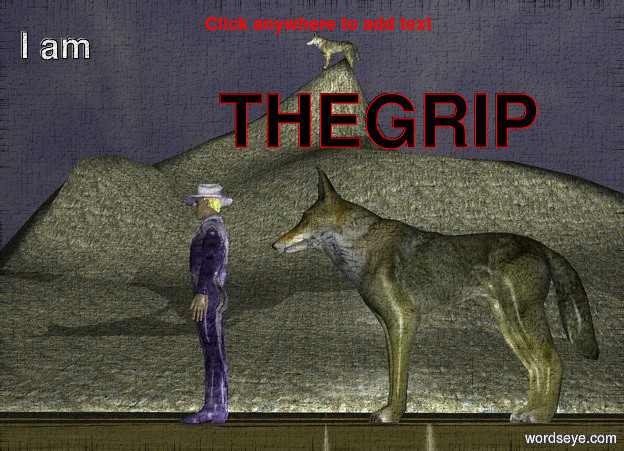 Input text: the man is blue. the man is freedom. the wolf is on a mountain. it is big. there is a wolf 1 foot behind the man. the wolf is big. the sky is dark. there is a light. it is to the left of the wolf.